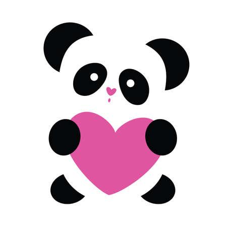 oso panda: el panda con el coraz�n en un fondo blanco del amor