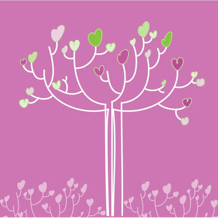 template for Valentine's Day greetings to - a tree with hearts Stock Vector - 8977578