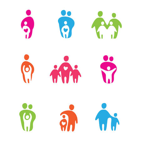 only 2 people: set of icons - the parents and children