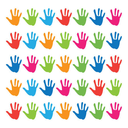 hand prints on a white background Stock Vector - 8977515