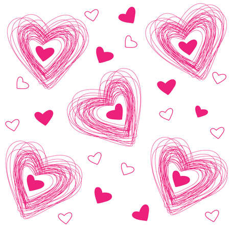 object print: pattern of hearts for the congratulations on Valentines Day Illustration