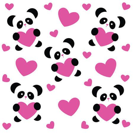patrón de plantilla para el día del amor - Panda de amor y corazones rosas sobre fondo blanco Ilustración de vector