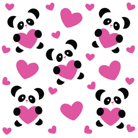 cute panda: template pattern to the day of love - love pandas and pink hearts on white background Illustration