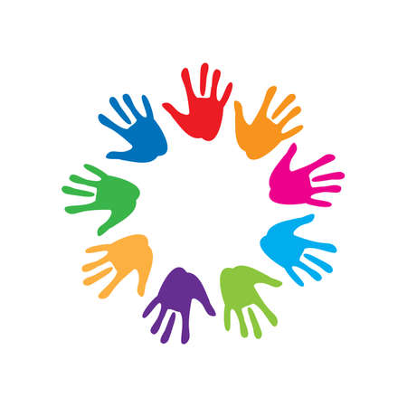 the sign of peace and friendship - colorful palm