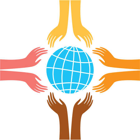 world peace: sign of peace - the hands of representatives of different peoples of the world reach for the image of the Earth