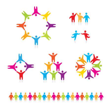 Personas conectadas símbolos. Una colección de iconos de personas. Ilustración de vector