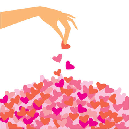 honeymoons: template for the congratulations of lovers - the hand throws the petals from the hearts   Illustration