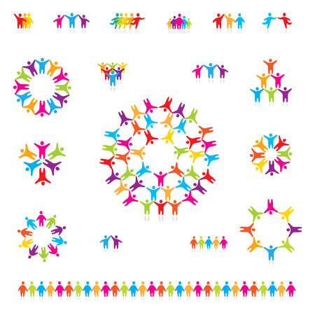community group: Various colorful set of icons - successful team. For your designs Illustration