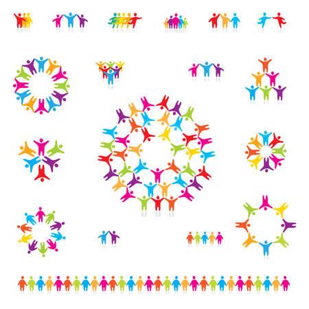 Vari colorato set di icone - squadra di successo. Per i vostri disegni
