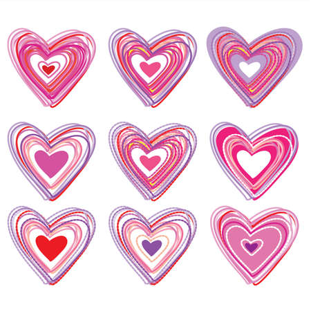set of hearts Vector
