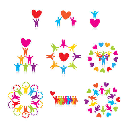 charity person: set of icons