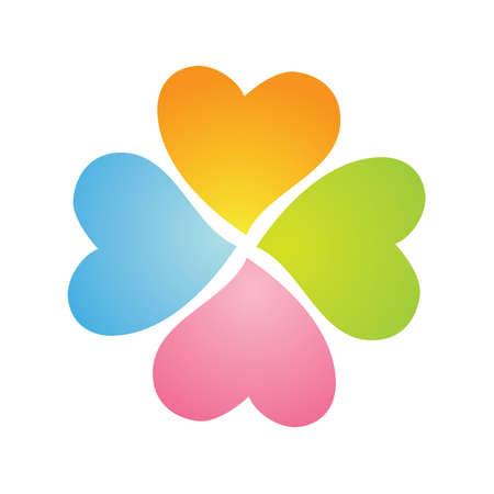 four-flower clover from the hearts on a white background Vector