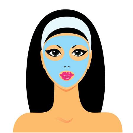 peluqueria y spa: tratamientos de spa de sal�n - m�scara facial Vectores