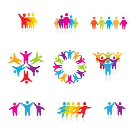 community people: set di icone - una squadra di successo Vettoriali