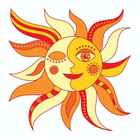 sol y luna: Sol sobre un fondo blanco Vectores