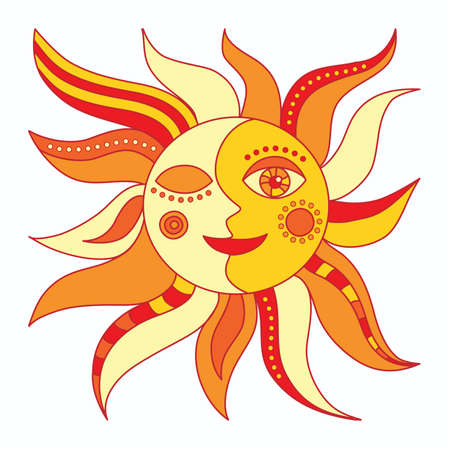 dekor: sun on a white background Illustration