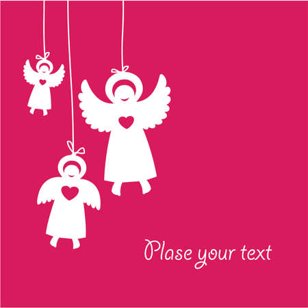 template-greetings cards with angels Stock Vector - 8977513