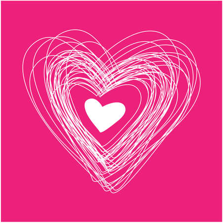 template for the congratulations Valentine - contour white heart on a pink background Stock Vector - 8977465