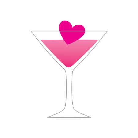 night bar: s�mbolo de amor - amor de una bebida - un vaso con un coraz�n
