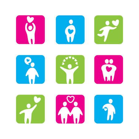 representations: set of icons - love