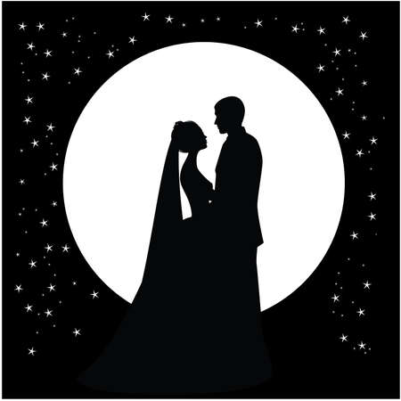 silhouette of a dancing couple married against the backdrop of the moon and the sky Vector
