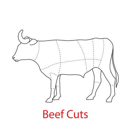 carcasse: Sch�ma du mod�le - coupes de b?uf. Illustration