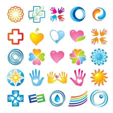 corazones azules: Conjunto de plantillas de marca corporativas. Simplemente coloque su propia marca.
