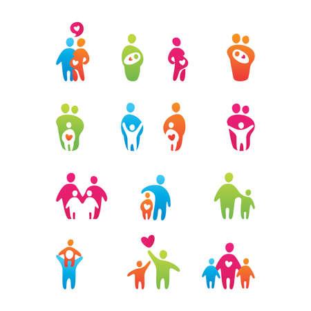 conjunto de iconos - niños y padres