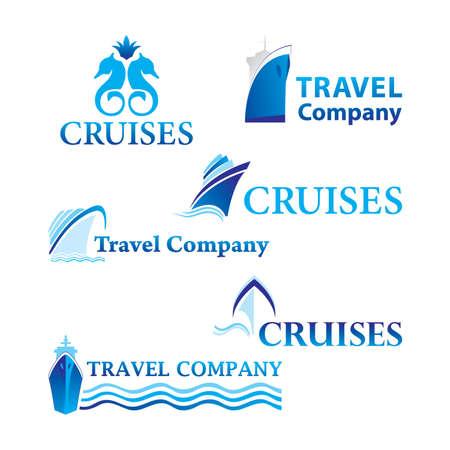 cruiseship: Viajes y cruceros. Conjunto de plantillas de logotipo corporativo. Simplemente coloque su propia marca. Vectores