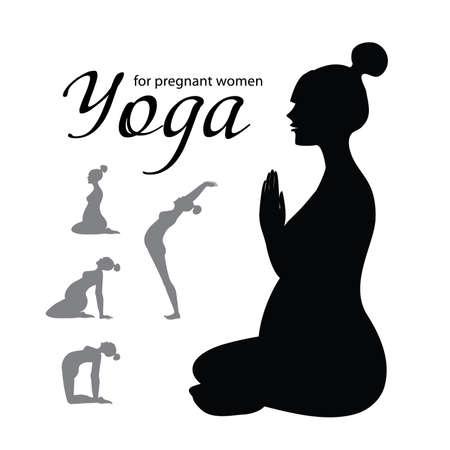 mujeres embarazadas: Yoga para embarazadas - un conjunto de iconos