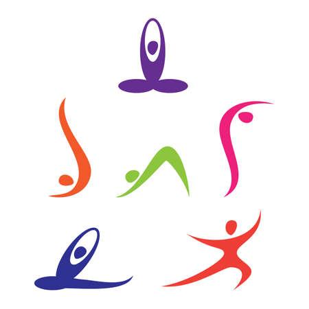 conscious: set of yoga Icons Illustration