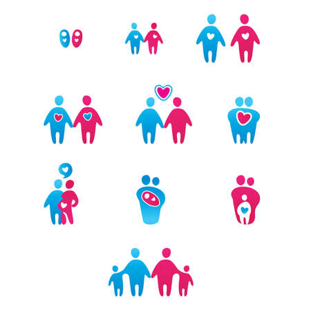 Collection of abstract icons - the boy-girl, man-woman, the development of relationships, family. Vector