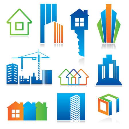 edificio: Colecci�n de iconos de plantillas - construcci�n y bienes ra�ces. Conjunto de elementos de color abstracta de plantillas corporativas. Simplemente coloque su propio nombre.