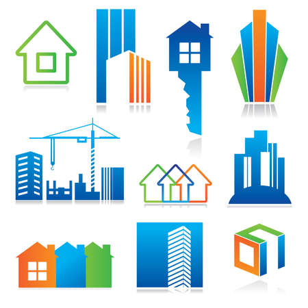 épület: Collection of templates icons - Building of and real estate. Abstract color element set of corporate templates. Just place your own name.