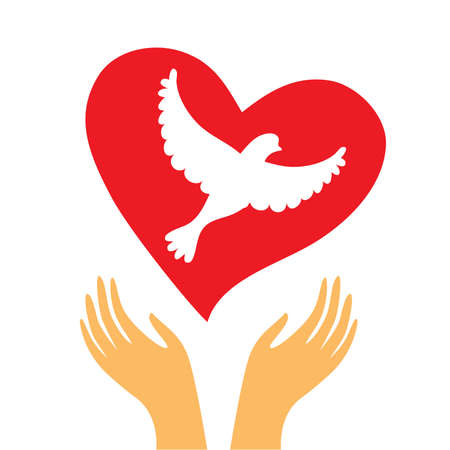 The sign of peace and love - the heart and a dove in his hands. Çizim