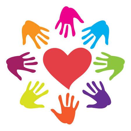 affectionate action: Firmar: mano dibujado al coraz�n