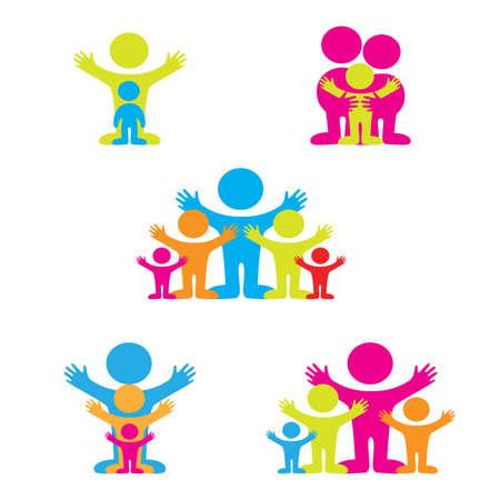 family clipart: set di icone - la famiglia