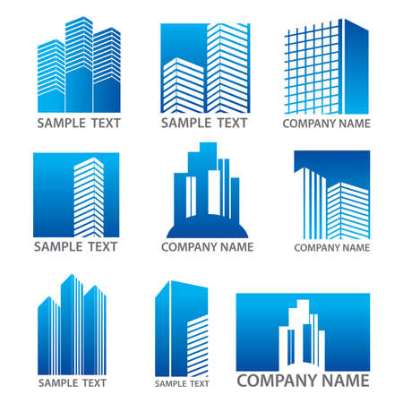 Template set of vector icons - skyscrapers. Used as a corporate template signs for companies. Building, real estate and finance. Just place your own name. Stock Vector - 9458058