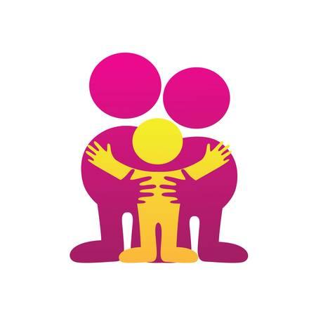 idea de un signo - un símbolo de amor paterno, la familia, la atención Ilustración de vector