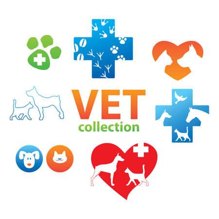 veterinarian symbol: Collezione di icone - medicina veterinaria Vettoriali