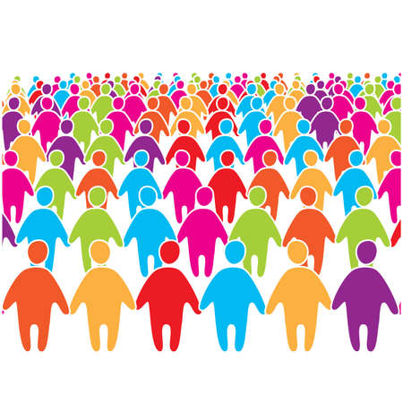 people from behind: Big crowd of many colors social people group. Illustration