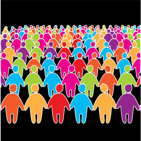 Big crowd of many social people group. Vector