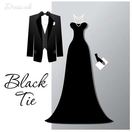 robe de soir�e: Code vestimentaire - Cravate noire. L'homme - un smoking noir et papillon noir, une femme - une robe de soir�e longue et bijoux de luxe. Illustration