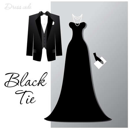 Dress code - Black tie. The man - a black tuxedo and black butterfly, a woman - a long evening dress and expensive jewelry. Vector