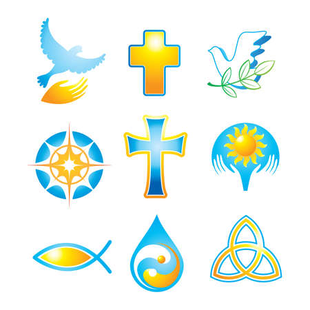 Collection of religious icons, symbols Stok Fotoğraf - 9717348