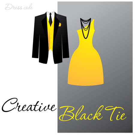 Dress code - Creative Black Tie. The man - a black tuxedo, colorful vest and tie or butterfly, a woman - cocktail dress. Vector