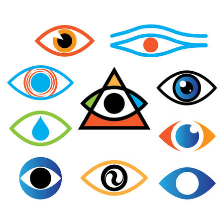 abstract symbolism: Collection of icons - the eye, optics, lens.