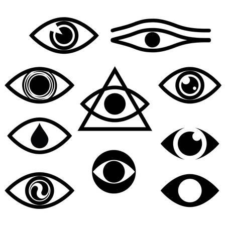 シンボル: 文字セット - 目  イラスト・ベクター素材