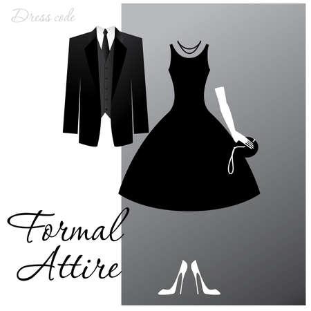 Code vestimentaire - Tenue formelle. L'homme - un smoking noir, une veste sombre et cravate, la femme - robe de cocktail. Vecteurs