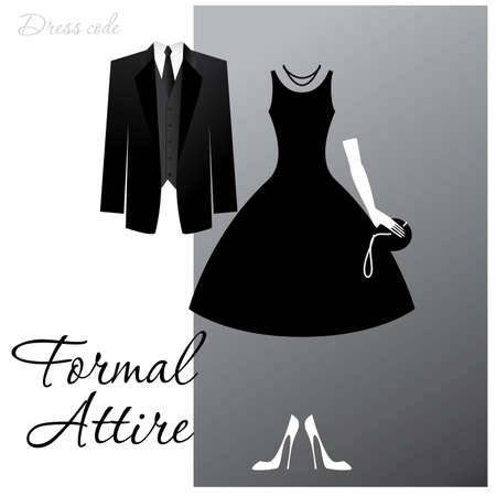 formal attire: Dress code - Formal Attire. The man - a black tuxedo, a dark jacket and tie, the woman - cocktail dress.  Illustration